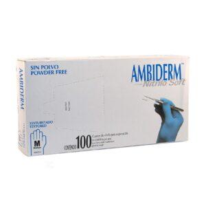 Guante Ambiderm Nitrilo Soft Talla Mediana Color Azul Sin Polvo y Sin Látex